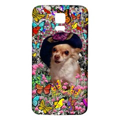Chi Chi In Butterflies, Chihuahua Dog In Cute Hat Samsung Galaxy S5 Back Case (white) by DianeClancy
