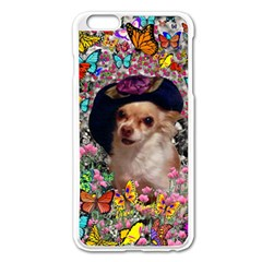 Chi Chi In Butterflies, Chihuahua Dog In Cute Hat Apple Iphone 6 Plus/6s Plus Enamel White Case by DianeClancy