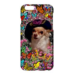 Chi Chi In Butterflies, Chihuahua Dog In Cute Hat Apple Iphone 6 Plus/6s Plus Hardshell Case by DianeClancy