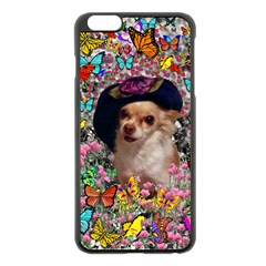 Chi Chi In Butterflies, Chihuahua Dog In Cute Hat Apple Iphone 6 Plus/6s Plus Black Enamel Case by DianeClancy