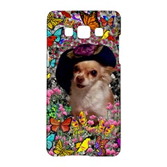 Chi Chi In Butterflies, Chihuahua Dog In Cute Hat Samsung Galaxy A5 Hardshell Case  by DianeClancy