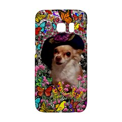 Chi Chi In Butterflies, Chihuahua Dog In Cute Hat Galaxy S6 Edge by DianeClancy