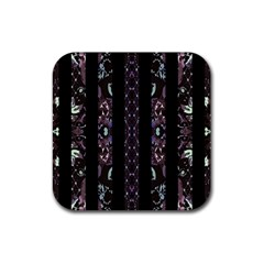 Oriental Floral Stripes Rubber Coaster (square)  by dflcprints