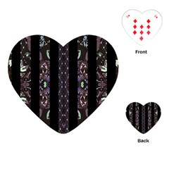 Oriental Floral Stripes Playing Cards (heart)  by dflcprints