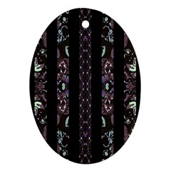 Oriental Floral Stripes Oval Ornament (two Sides) by dflcprints