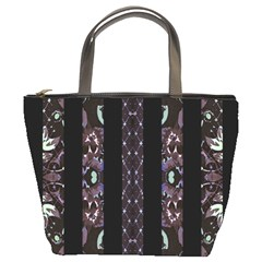 Oriental Floral Stripes Bucket Bags by dflcprints