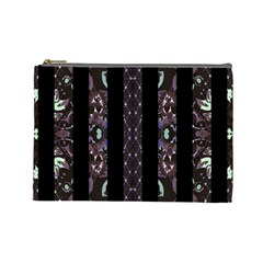 Oriental Floral Stripes Cosmetic Bag (large)  by dflcprints