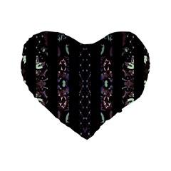 Oriental Floral Stripes Standard 16  Premium Flano Heart Shape Cushions by dflcprints