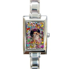 Chi Chi In Butterflies, Chihuahua Dog In Cute Hat Rectangle Italian Charm Watch by DianeClancy