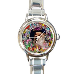 Chi Chi In Butterflies, Chihuahua Dog In Cute Hat Round Italian Charm Watch by DianeClancy
