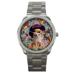 Chi Chi In Butterflies, Chihuahua Dog In Cute Hat Sport Metal Watch by DianeClancy