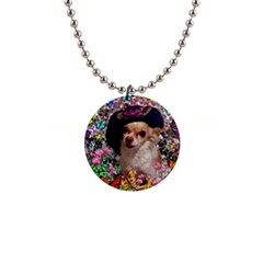 Chi Chi In Butterflies, Chihuahua Dog In Cute Hat Button Necklaces by DianeClancy