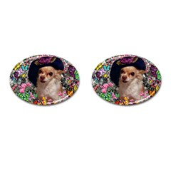 Chi Chi In Butterflies, Chihuahua Dog In Cute Hat Cufflinks (oval) by DianeClancy