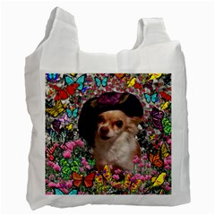 Chi Chi In Butterflies, Chihuahua Dog In Cute Hat Recycle Bag (one Side) by DianeClancy