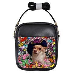 Chi Chi In Butterflies, Chihuahua Dog In Cute Hat Girls Sling Bags by DianeClancy