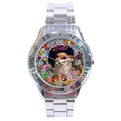 Chi Chi In Butterflies, Chihuahua Dog In Cute Hat Stainless Steel Analogue Watch by DianeClancy