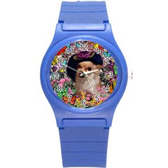 Chi Chi In Butterflies, Chihuahua Dog In Cute Hat Round Plastic Sport Watch (s) by DianeClancy