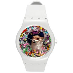 Chi Chi In Butterflies, Chihuahua Dog In Cute Hat Round Plastic Sport Watch (m) by DianeClancy