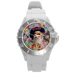 Chi Chi In Butterflies, Chihuahua Dog In Cute Hat Round Plastic Sport Watch (l) by DianeClancy