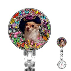 Chi Chi In Butterflies, Chihuahua Dog In Cute Hat Stainless Steel Nurses Watch by DianeClancy