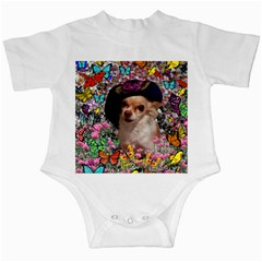 Chi Chi In Butterflies, Chihuahua Dog In Cute Hat Infant Creepers by DianeClancy