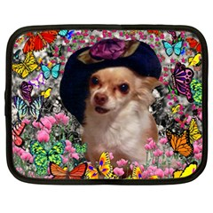 Chi Chi In Butterflies, Chihuahua Dog In Cute Hat Netbook Case (large) by DianeClancy