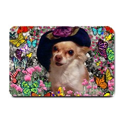 Chi Chi In Butterflies, Chihuahua Dog In Cute Hat Small Doormat  by DianeClancy