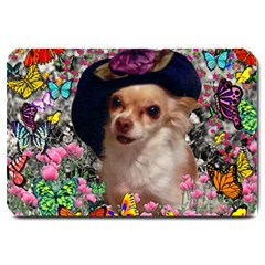 Chi Chi In Butterflies, Chihuahua Dog In Cute Hat Large Doormat  by DianeClancy