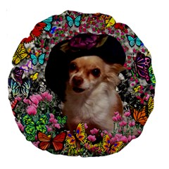 Chi Chi In Butterflies, Chihuahua Dog In Cute Hat Large 18  Premium Round Cushions by DianeClancy
