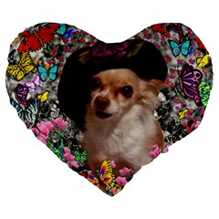 Chi Chi In Butterflies, Chihuahua Dog In Cute Hat Large 19  Premium Heart Shape Cushions by DianeClancy