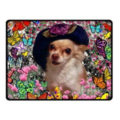 Chi Chi In Butterflies, Chihuahua Dog In Cute Hat Double Sided Fleece Blanket (small)  by DianeClancy