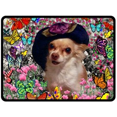 Chi Chi In Butterflies, Chihuahua Dog In Cute Hat Double Sided Fleece Blanket (large)  by DianeClancy