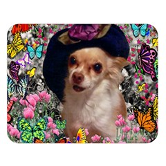 Chi Chi In Butterflies, Chihuahua Dog In Cute Hat Double Sided Flano Blanket (large)  by DianeClancy