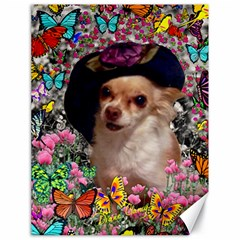 Chi Chi In Butterflies, Chihuahua Dog In Cute Hat Canvas 18  X 24   by DianeClancy