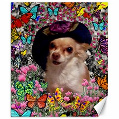 Chi Chi In Butterflies, Chihuahua Dog In Cute Hat Canvas 20  X 24   by DianeClancy