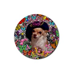 Chi Chi In Butterflies, Chihuahua Dog In Cute Hat Rubber Round Coaster (4 Pack)  by DianeClancy