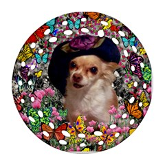 Chi Chi In Butterflies, Chihuahua Dog In Cute Hat Round Filigree Ornament (2side) by DianeClancy