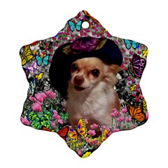 Chi Chi In Butterflies, Chihuahua Dog In Cute Hat Snowflake Ornament (2 Side) by DianeClancy