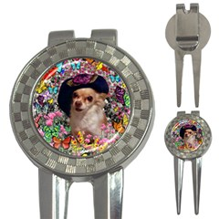 Chi Chi In Butterflies, Chihuahua Dog In Cute Hat 3 In 1 Golf Divots by DianeClancy