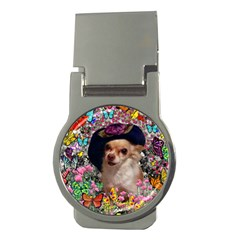 Chi Chi In Butterflies, Chihuahua Dog In Cute Hat Money Clips (round)  by DianeClancy
