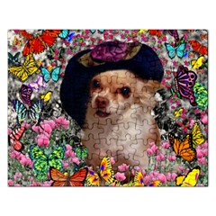 Chi Chi In Butterflies, Chihuahua Dog In Cute Hat Rectangular Jigsaw Puzzl by DianeClancy