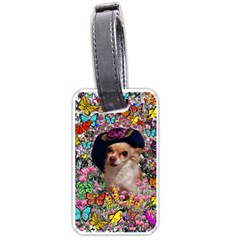 Chi Chi In Butterflies, Chihuahua Dog In Cute Hat Luggage Tags (one Side)  by DianeClancy