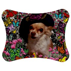 Chi Chi In Butterflies, Chihuahua Dog In Cute Hat Jigsaw Puzzle Photo Stand (bow) by DianeClancy