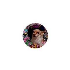 Chi Chi In Butterflies, Chihuahua Dog In Cute Hat 1  Mini Buttons by DianeClancy