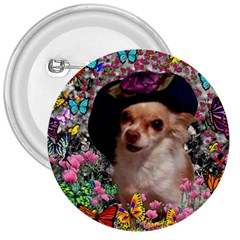 Chi Chi In Butterflies, Chihuahua Dog In Cute Hat 3  Buttons by DianeClancy