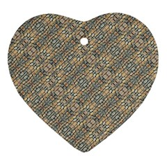 Cobblestone Geometric Texture Ornament (heart)  by dflcprints