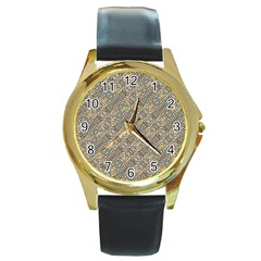 Cobblestone Geometric Texture Round Gold Metal Watch by dflcprints