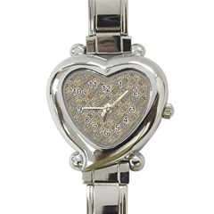 Cobblestone Geometric Texture Heart Italian Charm Watch by dflcprints
