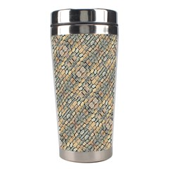 Cobblestone Geometric Texture Stainless Steel Travel Tumblers by dflcprints