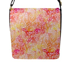 Sunny Floral Watercolor Flap Messenger Bag (l)  by KirstenStar